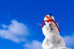 Little happy christmas snowman with toothpick outdoor. Winter season. Royalty Free Stock Photos