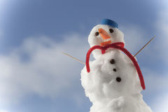Little happy christmas snowman with toothpick outdoor. Winter season. Stock Photography