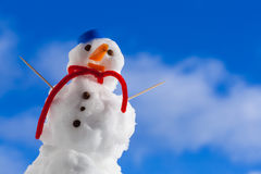 Little happy christmas snowman with toothpick outdoor. Winter season. Stock Photos