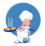 Little happy cook. Little boy happy cook with hot donuts Stock Photos