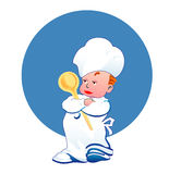 Little happy cook. Little boy happy cook with big beetle Royalty Free Stock Photo