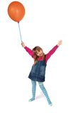 Little happy girl. With balloon isolated on white royalty free stock photo