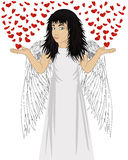 Little happy girl with angel wings beautiful, showing gesture Royalty Free Stock Photo