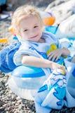 Little happy girl on the beach Royalty Free Stock Photos