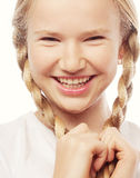 Little happy girl with big smile. Stock Photos