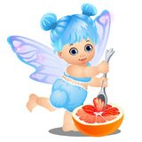 A little happy girl with blue hair and fairy wings eats grapefruit with a spoon isolated on white background. Vector Royalty Free Stock Image