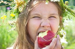 Little happy girl in a garland of field flowers. Little happy girl eating a big red apple on a summer day stock images