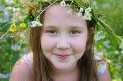 Little happy girl in a garland of field flowers. In the meadow stock images