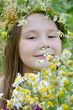 Little happy girl in a garland of field flowers. In the meadow stock photography