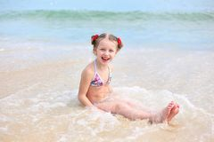 Free Little Happy Girl In A Swimsuit In The Sea. Concept Of Relaxation And Vacation Stock Photography - 155893832