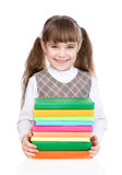 Little happy girl with pile books. isolated on white background royalty free stock image