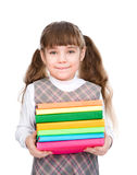 Little happy girl with pile books. isolated on white background royalty free stock photos