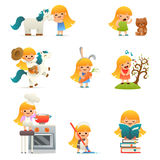 Little Happy Girl Smiling Child Icon Set Concept Isolated Flat Design Vector Illustration Royalty Free Stock Image