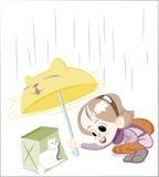 Little Happy Girl under the rain Vector Stock Image
