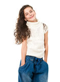 Little happy girl on white Stock Photography
