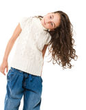 Little happy girl on white Stock Image