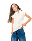 Little happy girl on white Royalty Free Stock Photos