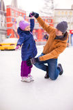 Little happy girl with young father have fun on Stock Image