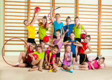 little happy gymnasts Royalty Free Stock Image
