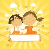 Little happy kids vector illustration