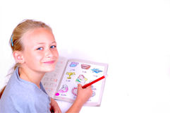 Little happy learner girl Stock Image