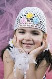 Little happy pirate. Little girl looking fashionable stock image