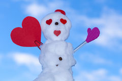 Little happy valentine snowman red heart paper card outdoor. Winter. Stock Photography