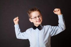 Little hapy boy showing his strength Royalty Free Stock Photo