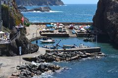 The little Harbour of Framura, Liguria Italy royalty free stock image