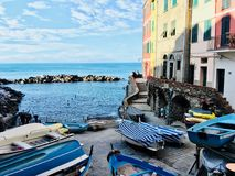 Little harbour. Hiking in Italy stock photos