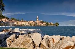 Little Harbour of lago di Garda. Little Harbour near Brescia. Colorful fisherman`s boats and yachts in the harbour of lago di Garda, northern Italy stock image
