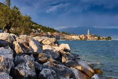 Little Harbour of lago di Garda. Little Harbour near Brescia. Colorful fisherman`s boats and yachts in the harbour of lago di Garda, northern Italy royalty free stock photos