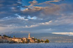 Little Harbour of lago di Garda. Little Harbour near Brescia. Colorful fisherman`s boats and yachts in the harbour of lago di Garda, northern Italy royalty free stock photo