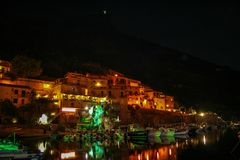 Maratea harbour. The little harbour of Maratea at night,Basilicata, Italy royalty free stock photos