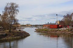 Little harbour on Suomenlinna Sveaborg island. In front Helsinki FInland royalty free stock images