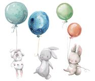 Free Little Hares Fly With Balloon. Royalty Free Stock Image - 130530456