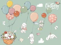 Little hares collection with balloon royalty free illustration