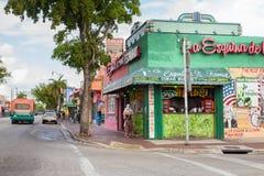 Little Havana Miami. Miami, Florida, USA - April 25, 2016: Street view with colorful Cuban cafe along Calle Ocho in Little Havana in Miami, Florida stock photography