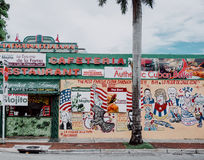 Little Havana Restaurant. Restaurant on a street corner in Little Havana, Miami, Florida, serving cuban food and cocktails Stock Image