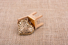 Little heart shape on a chair Stock Photo
