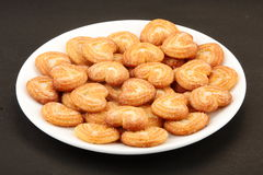 Little heart shaped sugar sprinkled biscuits Stock Photo