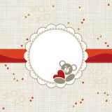 Little hearts and round frame with teddy bear Royalty Free Stock Image