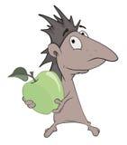 Little hedgehog and green apple cartoon Stock Photo