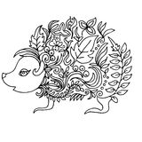 Little hedgehog, illustration for coloring Stock Photography