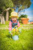 Little helper on the green grass in summer day Royalty Free Stock Image