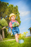 Little helper on the green grass in summer day Royalty Free Stock Images