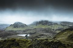 Quiraing - the most beautiful landscape in Scotland royalty free stock image