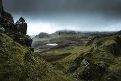 Quiraing - the most beautiful landscape in Scotland stock photos