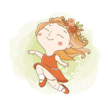 Little hippie girl. Vector illustration. Little hippie girl with flowers and Stock Images
