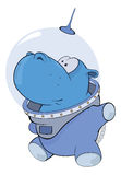 A little hippo-astronaut. Cartoon Stock Photo
